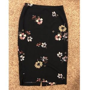Long Black Pencil Skirt with Flower Print